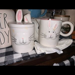 Magenta Easter Bunny Creamer and Sugar